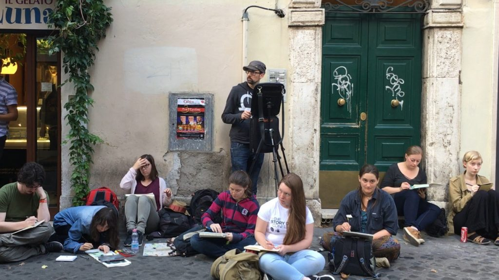 Photo of the sketchcrawling group in Rome