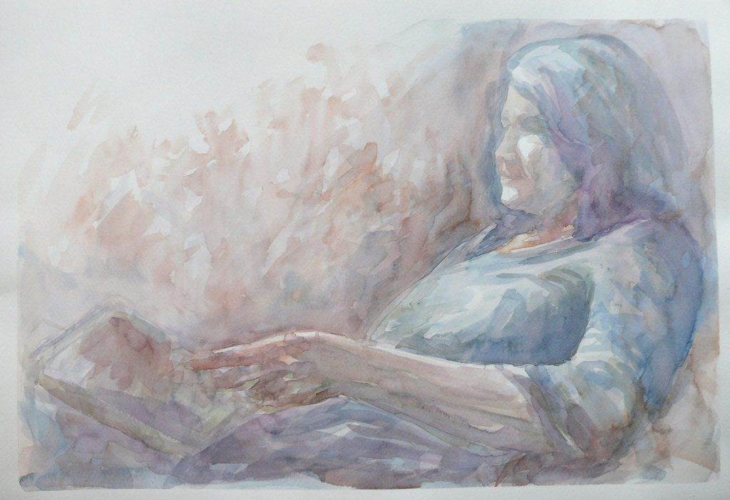 watercolor painting of lady reading