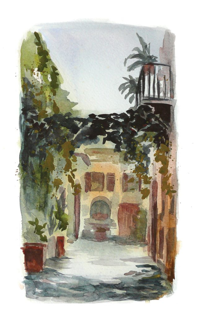 watercolor painting of a street in Trastevere