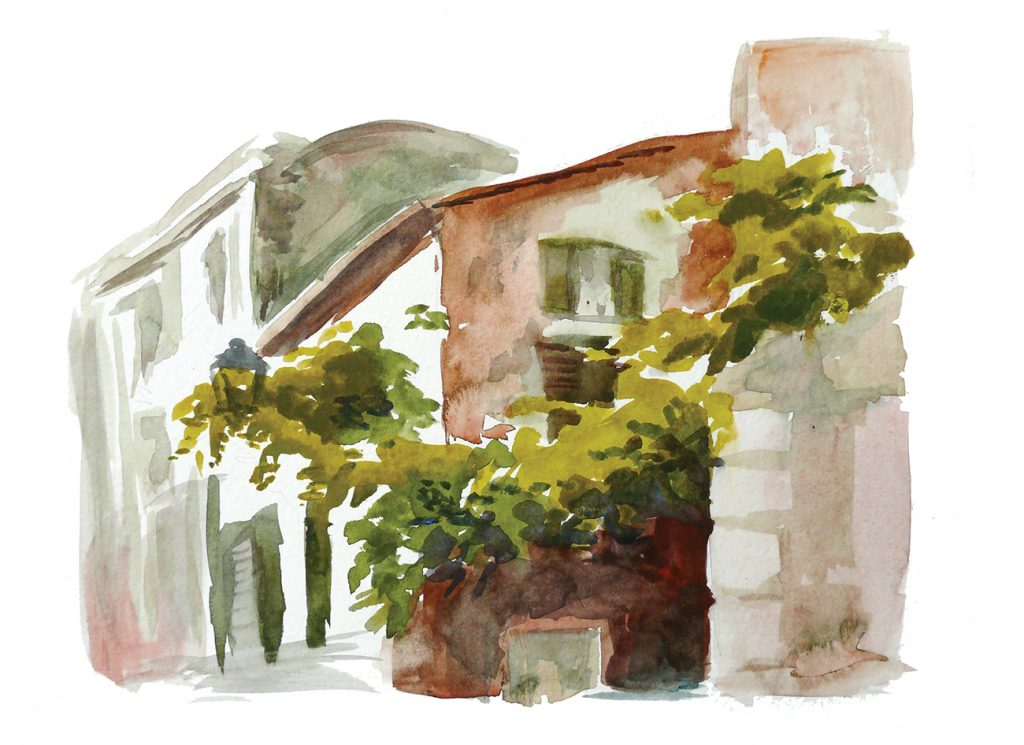 watercolor painting of some foliage in Trastevere