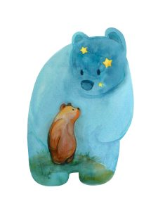 watercolor illustration of a bear cub looking up at the stary sky
