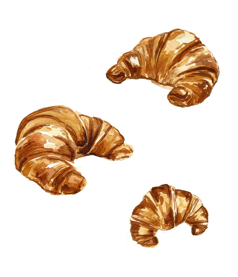 watercolor painting of croissants