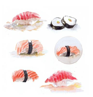 sushi paintings