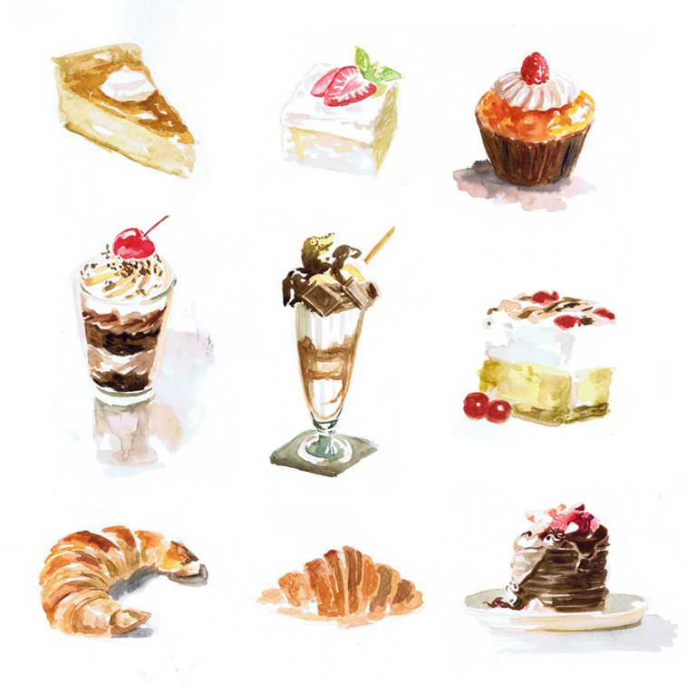 watercolor painting of desserts