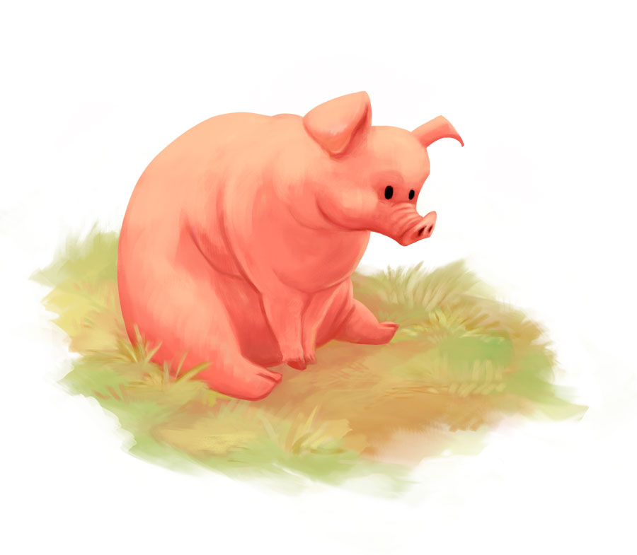 Digital painting of a fat pig