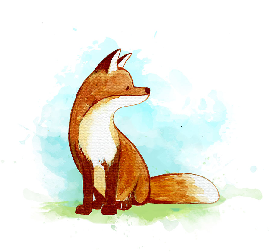 Digitally reworked watercolor painting of a fox