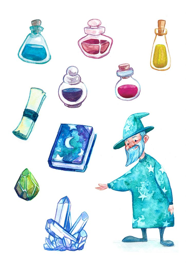 Watercolor illustration of a wizard and a selection of his items