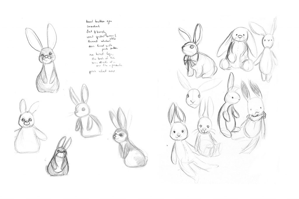 Various pencil sketches for the bunnyi toy character