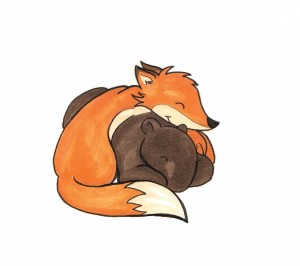tapir and fox cuddle